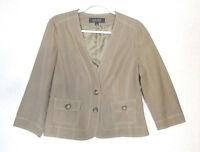 KASPER Women's Tan Linen Blend 3/4 Sleeve Lined Blazer Size 10