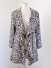 NWT Calvin Klein Drape Open Front Ruffle Cheetah Print Blazer Jacket Leopard 10