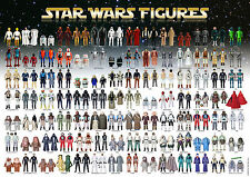 STAR WARS vintage action Toy Checklist référence Poster 98 figures 1977-85 SR A3