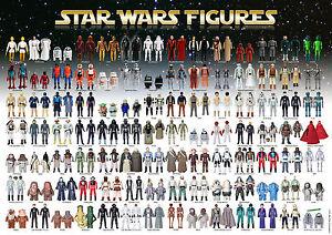 Star Wars Vintage Action Toy Checklist Reference Poster 98 Figures 1977-85 SR A3