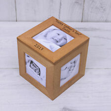 Oak Wooden Fathers Day Photo Cube - Personalised Daddy Gift 5 Photos Frame