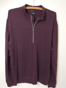 Tiger Woods Collection Mens Purple Casual 1/4 Zip Pullover Sweater Size Large