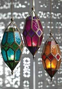 Moroccan Glass Lanterns   Ethical Hanging Tea light Holders   Colourful lamps