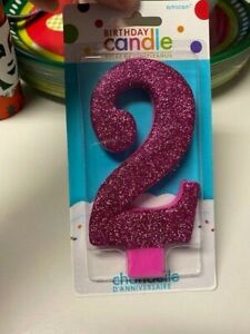 Amscan Pink Glitter Birthday Candle Number 2 New!!!