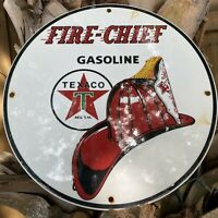 VINTAGE TEXACO GASOLINE FIRE CHIEF PORCELAIN METAL SIGN USA OIL GAS PUMP PLATE