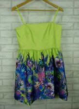 Forever New dress green blue floral print size 14 Corset style