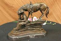 Frederic Remington Western Cowboy Horse Rodeo BRONZE Sculpture SIGND Figurine