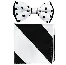 New Men's Two Layer Tones Pre-tied Bow Tie and Hankie Set White White Black Dots