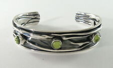 """950 silver crushed cuff bracelet with peridot 5/8"""" wide"""