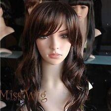 Belle mme brun foncé frisée à longue perruquewig+hairnet
