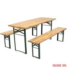 Set birreria in legno tavolo cm.80x220x76h con 2 panche cm.30x220 ripieghevole