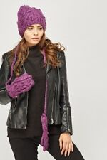 NEW Ladies Hat and Mittens Purple Gloves Winter Set Bobble PomPom Gift Knitted