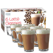 6 x LATTE GLASSES 240ML TEA COFFEE CAPPUCCINO GLASS CUPS HOT DRINK MUGS