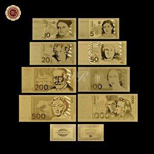 Gold Deutsche Banknote Complete Set 8pcs 5-1000 Marks Gold Bill Note /w COA