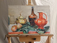 Vivid Color Mid Century Still Life TABLE COMPOSITION Vintage Watercolor Painting