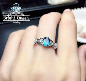 Natural London Blue Topaz Genuine 925 Sterling Silver Engagement Ring for Women