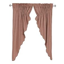 INDEPENDENCE Scalloped Prairie Curtain Set Rustic Red/Tan Plaid Patriotic