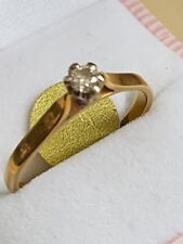 fine gold jewellery 18 ct  yellow and white  gold  diamond ring 3.14  grams (8)