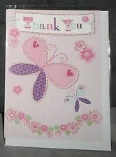 "GREETINGS CARD - ""THANK YOU"" - BUTTERFLIES/FLOWERS"