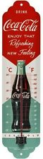 Coca Cola red / green 50´s Nostalgie Blech Schild Thermometer 13