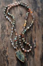 Natural Labradorite Beaded Arrowhead Long Boho Mala Necklace Jasper Quartz