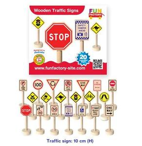 Fun Factory 20 Pcs Wooden Traffic Road Sign Australia Safety Pretend Play Toy