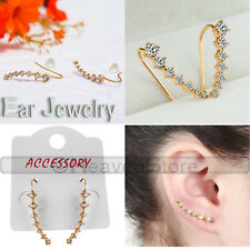 One Row Rhinestone Crystal Star Earrings Piercing Ear Stud Clip Cuff Ladies Girl 2 Pairs Gold