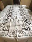 Vintage Madeira Embroidered Ecru Cutwork Tablecloth 64x116 w/12 Napkins