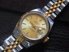 Rolex 69173 Oyster Datejust Index Gold Dial Automatic Watch Quick Set