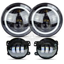 LED Halo Headlights & LED Fog Light DRL Combo Kit For Jeep Wrangler JK 2007-2016