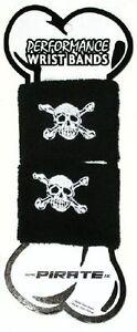 Pirate skull sweatband wristband pair sweat band BLACK embroidered