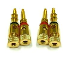 4X Gold threaded Speaker Wire Connector Banana Plug Jack Open End Pro Audio Home