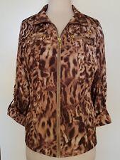 QUEENSPARK Brown/Cream Animal Print Jacket Size 12