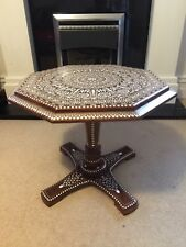 Antique Rosewood  Indian Inlaid Table 22 Inches Top  Piller Leg
