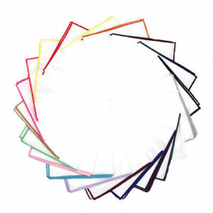 100% COTTON WHITE POCKET SQUARE HANDKERCHIEF HANKY WITH COLOUR TRIM WEDDING