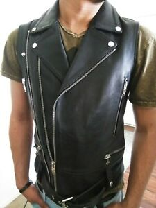 Rare Nona9on, Nonagon Black Soft Leather Motorcycle Vest, Medium K- Fashion