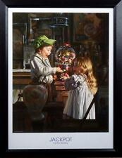 Bob Byerley Jackpot Kids with Gumball Machine Framed Print  20.5 x 26.5