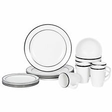 Dinnerware Set 16 Piece Plates Kitchen Dishes Dinner Bowls Mugs 4 Service Black