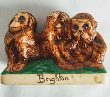 Vintage 3 Wise Monkeys Speak, See, Hear No Evil Ceramic Blue Rhinestone Eyes