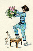 1930s French Pochoir Artdeco Print Herouard Girl W/ Little Puppy Dog Mistletoe