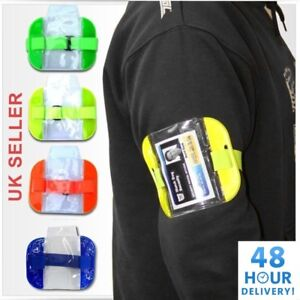 High Visibility Security Arm Band ID Badge Card Holder SIA Armband