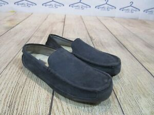 NICE Ugg Australia Ascot Navy Blue Suede Sherpa-Lined Men's Slippers size 8.5