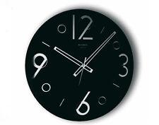 Orologio da Parete Nero, Rotondo, in Specchio Serigrafato, Home Design