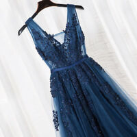 Sexy V Neck Beaded Bridesmaid Dresses Navy Blue Low Back Formal Evening Dress