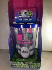 HATCHIMALS 2 LIP BALM 2 NAIL POLISH NAIL DECALS in CHARACTER TUMBLER w STRAW Cup