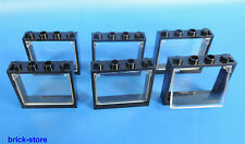 LEGO® Fenster  1x4x3 Rahmen schwarz / mit glaseinsatz transparent klar / 6 Stück