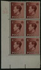 Gb Edward Viii 1936 1 1/2d Brown Cylinder 2. Dot A36 Mint Block 6 Stamps Keviii