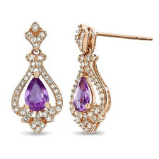 1.60CT NATURAL DIAMOND AMETHYST 14K ROSE GOLD WEDDING ANNIVERSARY EARRING