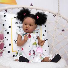 Full Silicone Beautiful Girl 23 Inch Baby Dolls Reborn Black Skin Doll Can Bath