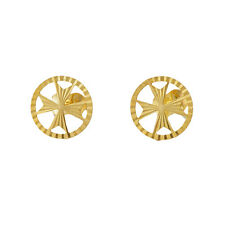 MALTESE CROSS AMALFI Hallmarked 9ct 9k Gold 375 Stud Earrings Knights of Malta